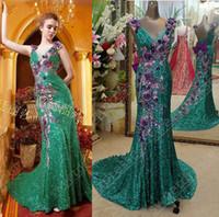 hermosa lentejuela sirena prom al por mayor-2014 envío gratis modelo real impresionante lentejuelas de encaje sexy v-neckling con hermosos vestidos de noche de sirena con cuentas florales vestidos de baile