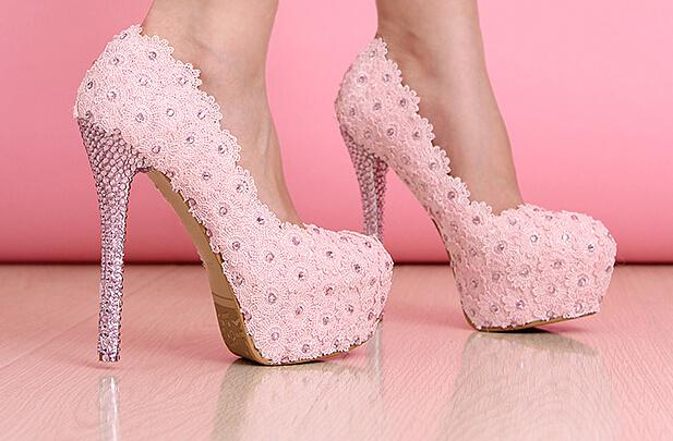 91adfd6f38c3 Pink lace shoes ! Beautiful Vogue lace Crytal High Heels Wedding Bridal  Shoes 12 14 cm