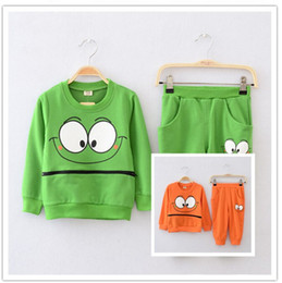 Wholesale Cartoon Cute Girl Suits - Wholesale-Spring Autumn Winter children Clothing outfit suit girl boy cartoon outfits Sweatshirt+pants 5s l