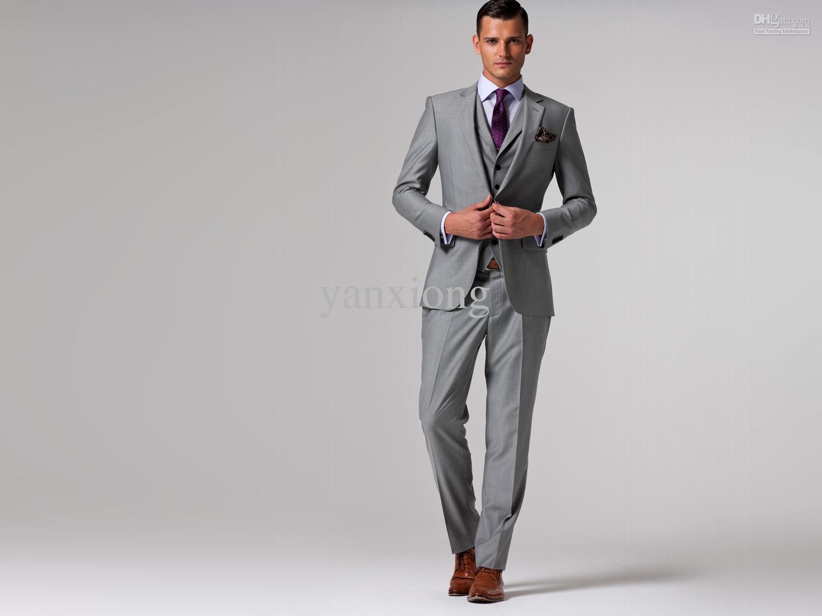 Hot Sale Bespoke Wedding Groom Suits Light Gray for Wedding ...