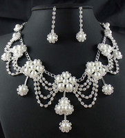 güzel kristal kolyeler toptan satış-Muhteşem Kristaller RhinestonePearl Gümüş Güzel Çiçek Küpe Kolye Düğün Takı Seti Gelin Aksesuarları