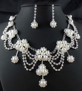 Gorgeous Crystals Rhinestone&Pearl Silver Beautiful Flower Earrings Necklace Wedding Jewelry Set Bridal Accessories