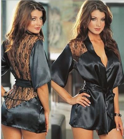 Sexy Lingerie erotica Hot Plus Size Langerie Kimono Dress Satin Sleepwear pigiama nero per le donne Baby doll G String