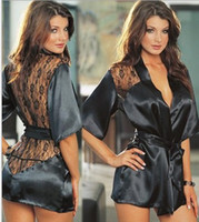 Wholesale Half Kimono Robe - Sexy Erotic Lingerie Hot Plus Size Langerie Kimono Dress Satin Black Sleepwear Pajamas for Women Baby doll G String