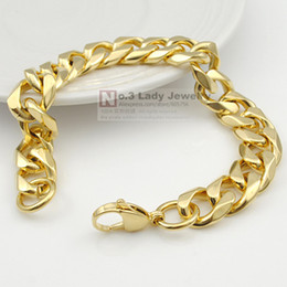 Wholesale Curb 12mm - 20.5cm 12mm 18K Gold-plated Bracelet Curb Cuban Link Chain Stainless Steel Mens High-Quality Wholesale Jewelry WB514