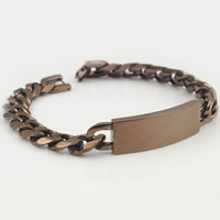 Wholesale Mens Engrave Bracelet - Wholesale Jewelry 22.5cm 12.5mm Brown Stainless Steel Chain Mens Curb Cuban Rombo ID Bracelets Boys Engraved Jewellery