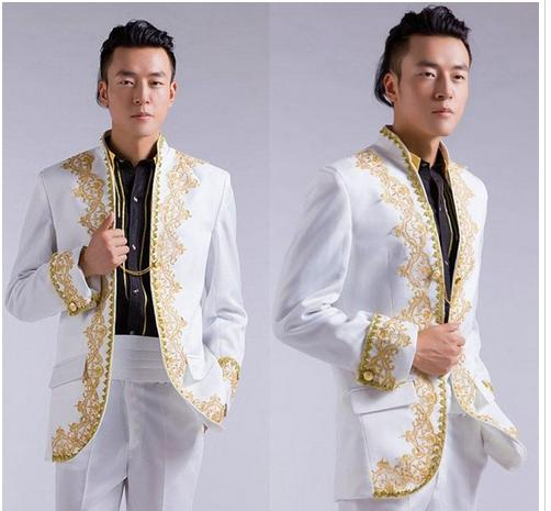 Chinese Wedding Groom Tuxedo Suits Gold Embroidery Applique White ...
