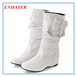 Wholesale Red Platform Wedge Boots - ENMAYER Big size 34-47 Hot Fashion flat Low Wedges boots for women, snow boots and women Spring winter shoes Bow BOOTS