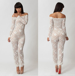 Wholesale One Piece Long Sleeve Jumpsuits - Lace Sexy Jumpsuit Women Clothes Hollow out Natural Color One-piece Bodycon Floral See-through Long Sleeve Romper Trousers for Woman Lady