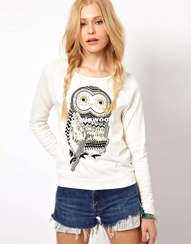 3e3bcea8769 2018 2014 New Autumn Casual Cute White Owl Animal Print Beading Hoodies  Pullover For Women High Quality Plus Size Xs S M L From Winwood