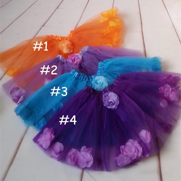 children 2layer tulle petal tutu skirt girls princess bow floral tutu skirt for baby girls halloween orange tutu