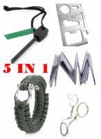Wholesale Outdoor Survival Magnesium - Wholesale-Outdoor Survival Kit Paracord 550 Survival Bracelet+Wire Saw+Flint Magnesium Fire Starter+Survival Knife Card+Emergency Blanket