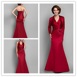 Wholesale Rhinestone Flower Fashion - 2015 full Exquisite Fashion red v-neck taffeta handmade flower beads Rhinestone Fold\Ruffle A-line Floor length Mother of the Bride Dresses