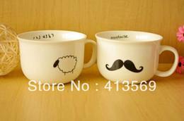 Wholesale Mustache Cups - Wholesale-Simple style mustache   raindrop   bird   sheep ceramic mug,Zakka style coffe & milk cup