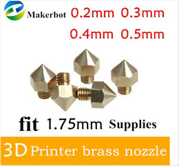 Wholesale Makerbot 3d - 5pcs lot 3D Printer Nozzle Optional Sizes 0.2mm 0.3mm 0.4mm 0.5mm Extruder Print Head For 1.75MM Makerbot free shipping