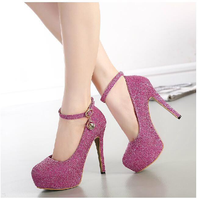 Sexy High Heels Women Shoes Woman New 2015 Ladies ankle strap ...