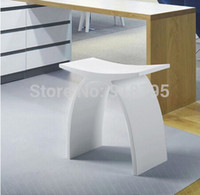 Wholesale NEW MATTE Modern Curved Bathroom Seat Stool Chair WHITE Stone Solid Surface Steam Shower Enclosure Chairs x230x430mm
