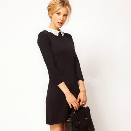 Compre Vestido De Encaje Sexy Para Mujer Con Cuello De Encaje Mini Vestido Negro S M L A 2011 Del Shenping02 Dhgatecom