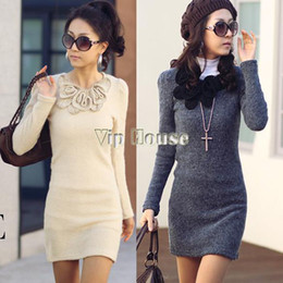 Wholesale Dresses F - 2014 New arrival sexy Lady Fashion Fleece Mini Long Sleeve Woollen Sweater Dress with Butterfly Flower 3533 f