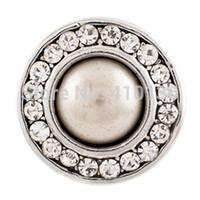 art und weise kristallperlenknöpfe großhandel-NSB1231 Heißer Verkauf Snap Schmuck Taste Für Armband Halskette 2014 Mode DIY Schmuck Imitation Perle Kristall Legierung Snaps
