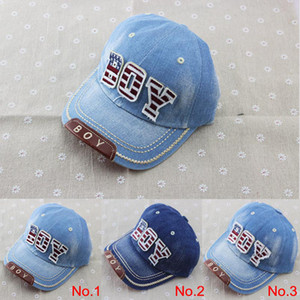 Wholesale 2014 new kids cotton caps boys baseball caps summer jean hats children caps girls baseball cap ages baby hat children hat