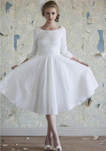 Hot Sales Tea Length Vintage Wedding Dresses Scoop