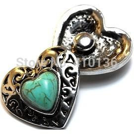 NSB1261 Hot Sale Snap Jewelry Button For Bracelet Necklace 2014 Fashion DIY Jewelry Turquoise Chunky Snaps Heart Buttons