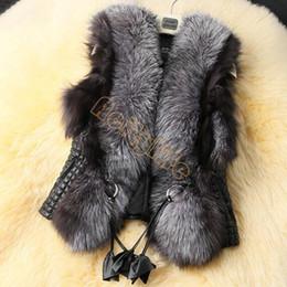 2017 Inverno Casaco Plus Size Fox Fur Vest Faux PU Revestimento de couro Casacos curtos Moda Mulheres Casacos Senhoras Casaco Casaco preto Casacos W25