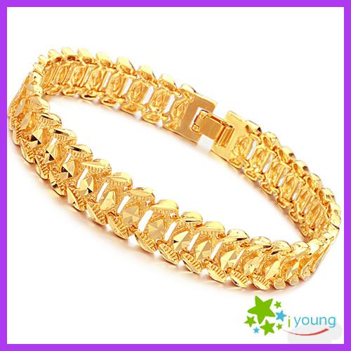 Famous Brand Mens Hand Accessories 18k Gold Plated Bracelets Upper Arm Wedding Bangles Engagement Prom Gift Male Hand Chain