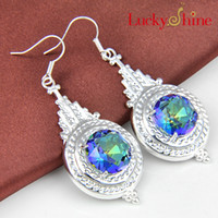 Luckyshine New Arrive Christmas Day 2pieces / lot 925 en argent sterling délicate ronde Mystic Topaz Crystal Earring jewelry Livraison gratuite E058 059