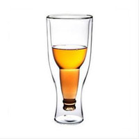 Wholesale Hopside Down Beer Glass Wholesale - Wholesale-Free shipping 50pcs lot Creative Beer Cup Durable Double Wall Glass Hopside Down Wholesale