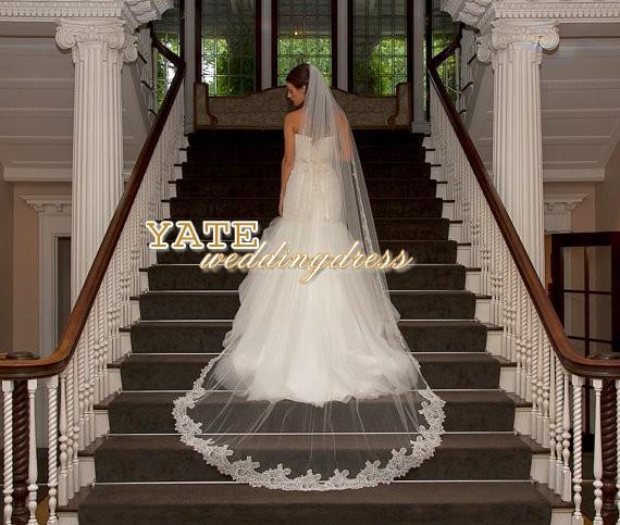 Hot Fashion One Layer Cappella Lunghezza Velo da sposa Velo Bianco Alta Qualità Tulle Bridal Mantilla Spedizione gratuita