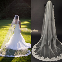 Wholesale Mantilla Veil Champagne - 2014 Hot Fashion One Layer Chapel Length Wedding Veil White High Quality Tulle Bridal Mantilla Free Shipping