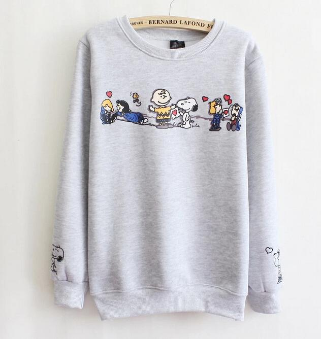 b3365a2db 2019 Snoopy Sweatshirt Fashion Women Knitted Cotton Hoodies Gray And White  From Babala1, $27.2 | DHgate.Com