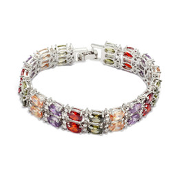 Wholesale Silver Chain Sellers - Trendy E670 Morganite Blue Peridot Amethyst Red Cubic Zirconia fashion Silver Plated bracelet E670 Best Sellers Time limited discount