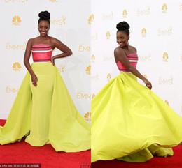 Wholesale Emmys Dresses - Unique Design Off The Shoulder Sleeveless A Line Long Length Satin Pattern Natural Waist Emmys Red Carpet Celebrity Gowns Prom Dress 2015