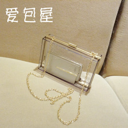 Wholesale Transparent Acrylic Boxes - Wholesale-2014 new European package transparent acrylic box evening bag clutch handbag chain female bag