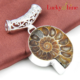 Wholesale Silver Ammonite - Luckyshine 2piece lot Christmas 925 silver plated Best Seller Ammonite Fossil and brazil citrine crystal pendant for lady p1137-1139