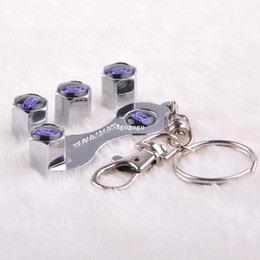 Wholesale Mini Car Wheel Keychain - Free shipping Car Wheel Tire Valve Caps with Mini Wrench & Keychain for Ford (4-Piece Pack)