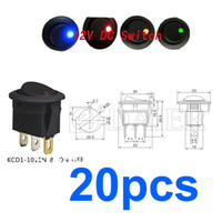 Wholesale 12v lighted toggle switch - 5*Blue+5*Red+5*Green+5*Amber Car 12V 16A Round Rocker Boat LED Light Toggle SPST Switch