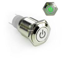 interruptor led trava venda por atacado-Motocicleta do carro 12 V Poder Verde LED Iluminado Travamento Botão Interruptor de Metal 16mm On / Off on off Novo