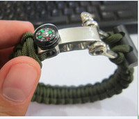 Wholesale Paracord Metal - 2017 Outdoor 550 Paracord Flint Bracelet Survival Bracelets With Compass On The Adjustable Metal Buckle Sell Well New Fashion