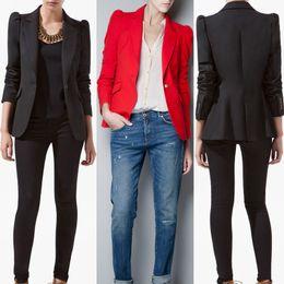 Chaquetas de puffs online-Primavera 2014 ZAZA Blazers, chaqueta de algodón para mujer, mantón de encaje, color caramelo y traje de rayas.