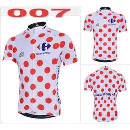 Wholesale Dot Jersey - 2014 Tour Le France Cycling Jerseys Fashion Red Dot White Cool Mountain Bike Jerseys Short Sleeves High Quality Cycling Jerseys