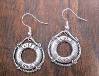 Wholesale Tibetan Bags - Hot ! *NAUTICAL LIFE SAVER RING* SP Coastguard Earrings Tibetan Silver Sailor GIFT BAG (z928)