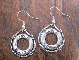 Wholesale Nautical Bags Wholesale - Hot ! *NAUTICAL LIFE SAVER RING* SP Coastguard Earrings Tibetan Silver Sailor GIFT BAG (z928)