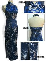 Wholesale Silk Long Cheongsam - Shanghai Story Navy Blue Backless Traditional Chinese Dress Gown Halter Long Cheongsam Dress Faux Silk Qipao Formal Party Dress S-3XL
