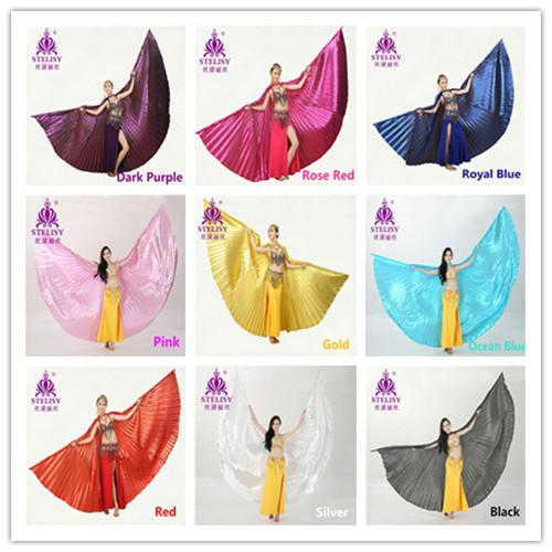best selling 11 colors Egyptian Bellydance Professional Silver Isis Wings MEGA Belly Dance Costume Isis Wings Dance wear (no stick)