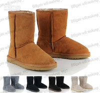 Wholesale Womens Winter Shorts Brown - 2014 Classic short WGG5825 style Womens snow boots Winter Fashion style Warm stable With certificate dust bag