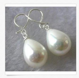 Wholesale Natural Shell Chandelier - Natural AAA+12mm akoya shell drops pearl earring 925